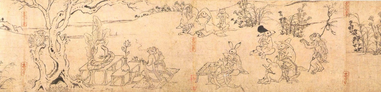 Рис. 2. Фрагмент первого свитка «Тёдзю дзимбуцу гига» (ХII в.). Собственность храма Кодзандзи (K?jan-ji)