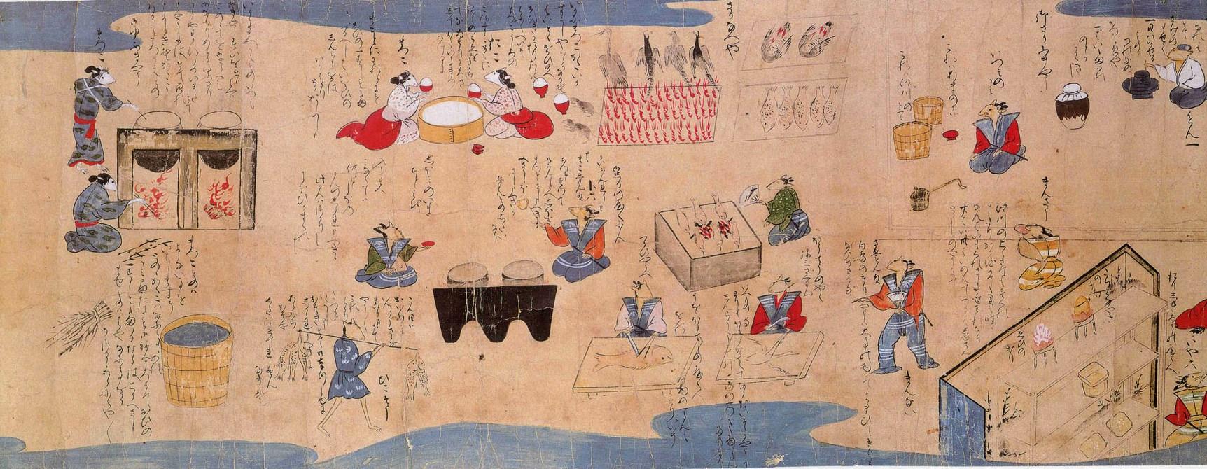 Рис. 5. Фрагмент «Нэдзуми соши эмаки» – сцена, где мыши заняты приготовлением свадебных блюд. Музей Сантори (Suntory Museum)
