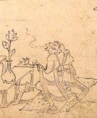 Рис. 3. Фрагмент «Тёдзю дзимбуцу гига»: обезьяна произносит фразу