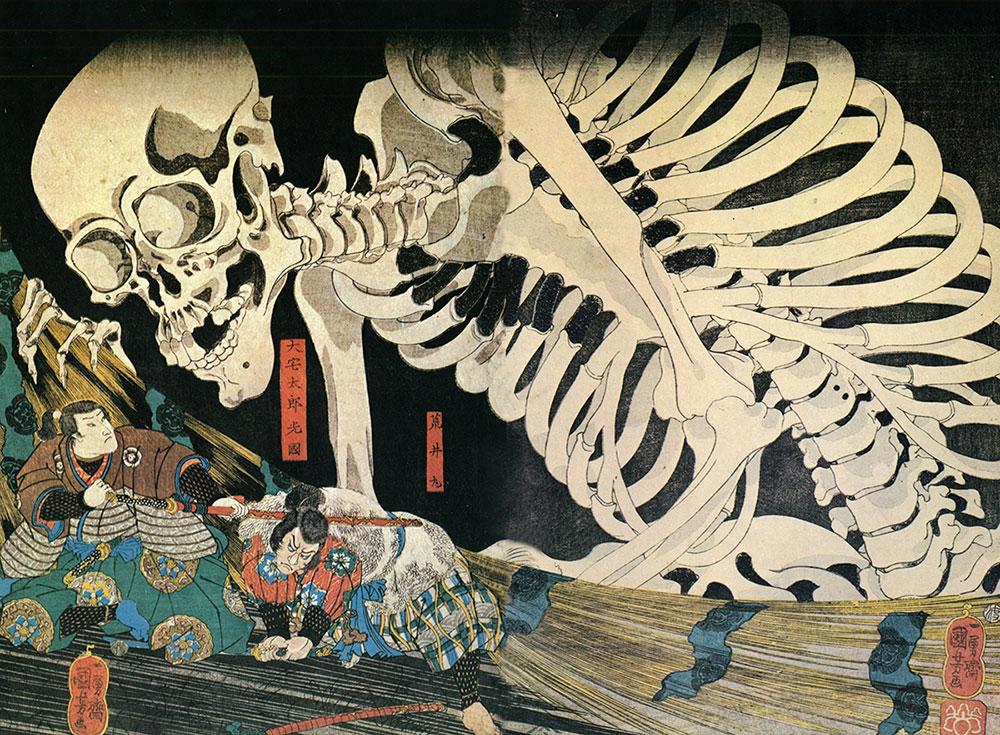 «Древний императорский дворец в Сома», Куниёси Утагава, 1840-е гг.