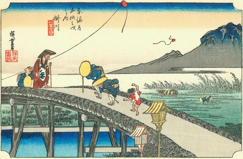 """Какэгава"" - лист из серии ""53 станции Токайдо"", Утагава Хиросигэ"