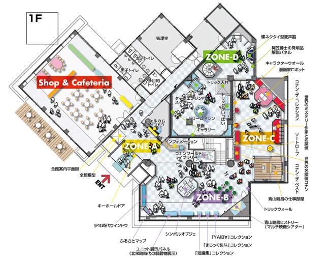 Схема расположения залов внутри Дома-музея Аояма Госё
