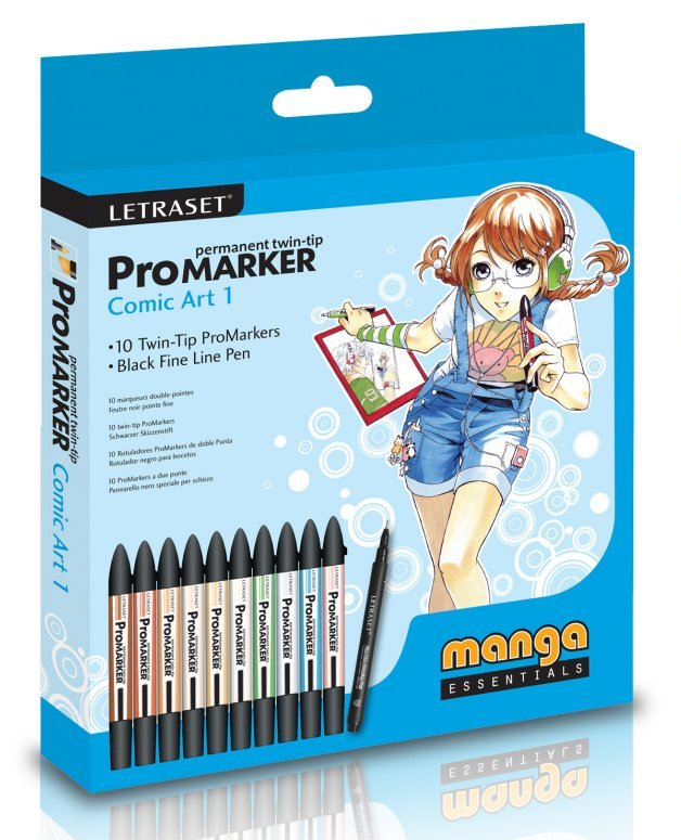 Маркеры с двойным наконечником ProMarker Comic Art 1 фирмы Letraset (Великобритания)