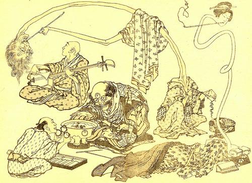"""""""Хокусай манга"""", 12 том, изображение трёхглазого монстра, монаха-музыканта и двух женщин с длинными шеями (рокурокуби)"""