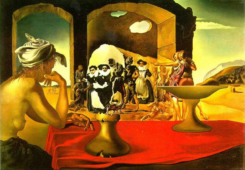"""Сальвадор Дали """"Невольничий рынок с явлением незримого бюста Вольтера"""", 1938"""
