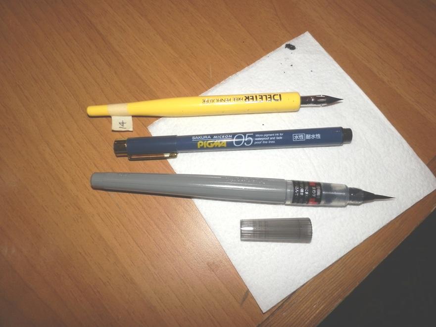 перо Джи, линер Sakura Micron Pigma, ручка-кисточка
