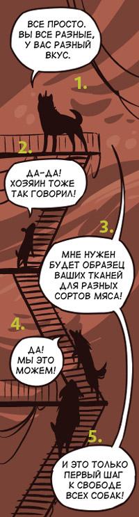 хороший пример диалога, где один персонаж отвечает на последовательные фразы остальных © muha & skitalets