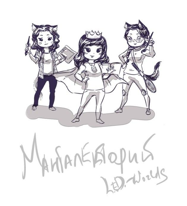 автограф L.E.D. -Worlds для Мангалектория. Слева направо: Катя, Лаула, Диана